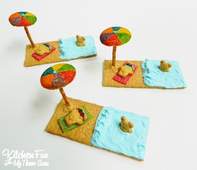 Teddy Graham Beach Treats made with Graham Crackers...so easy from KitchenFunWithMy3Sons.com