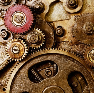 gears, industrial, metal, silver, gold, screws, cold, smooth, meshes tightly together, shiny, turning parts, brass, copper, red, nuts, bolts, springs
