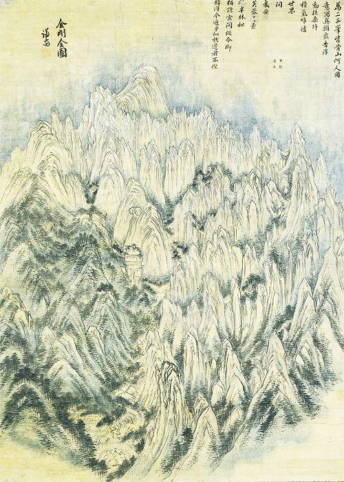xinggan:  kumgang mountains (금강산)chong son (정선)choson dynasty, 1734