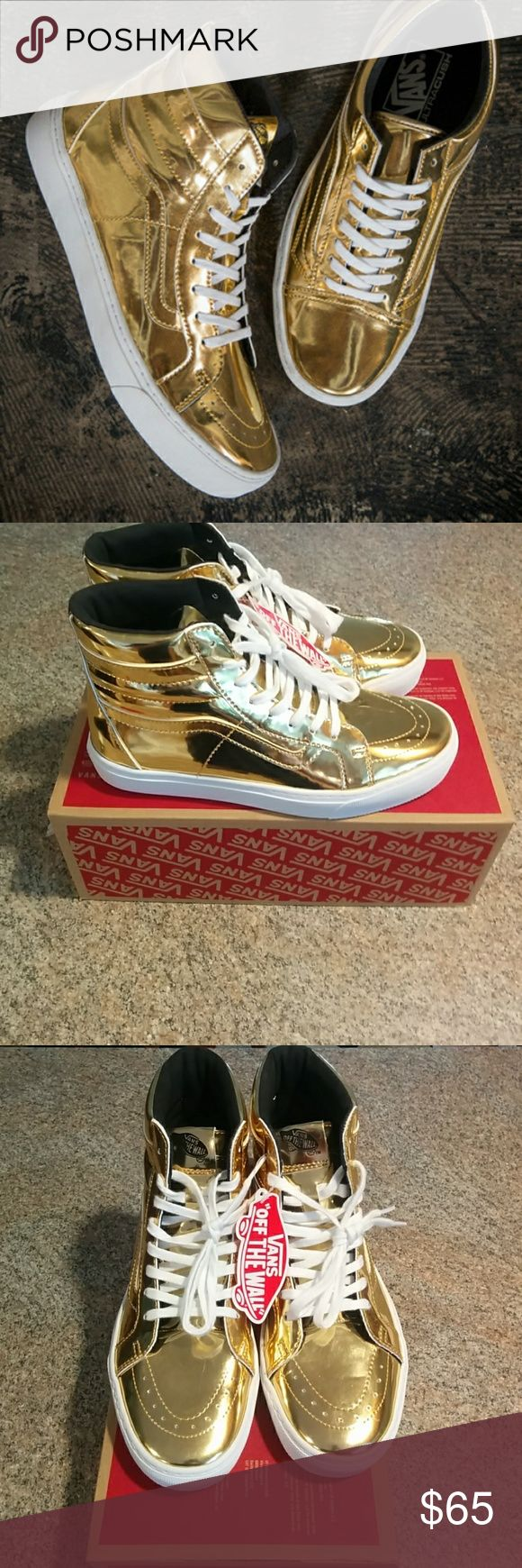 """Exclusive Vans Sk8 Hi """"Olympic Gold"""" NWT Rare Vans Sk8 Hi Metallic Gold Size Women's 9 Mens 7.5 Exclusive release 2016 Rio Olympic Games Vans released 4 very limited edition gold and silver colorways. ONLY Released at Champs certain location very very rare shoe Vans Shoes"""