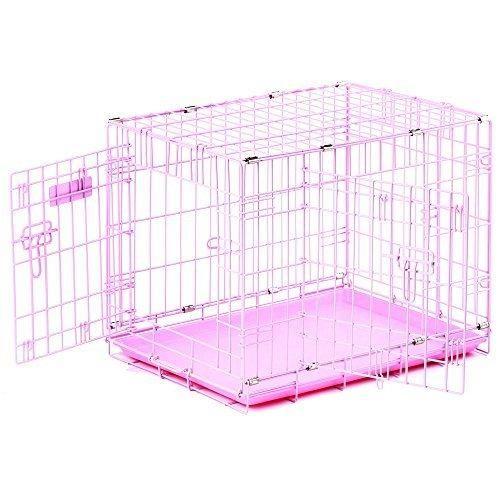 """Precision Pet """"ProValu"""" Double Door Dog Crate Pink"""