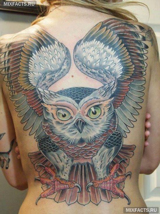 Tatuaż sowa na plecach