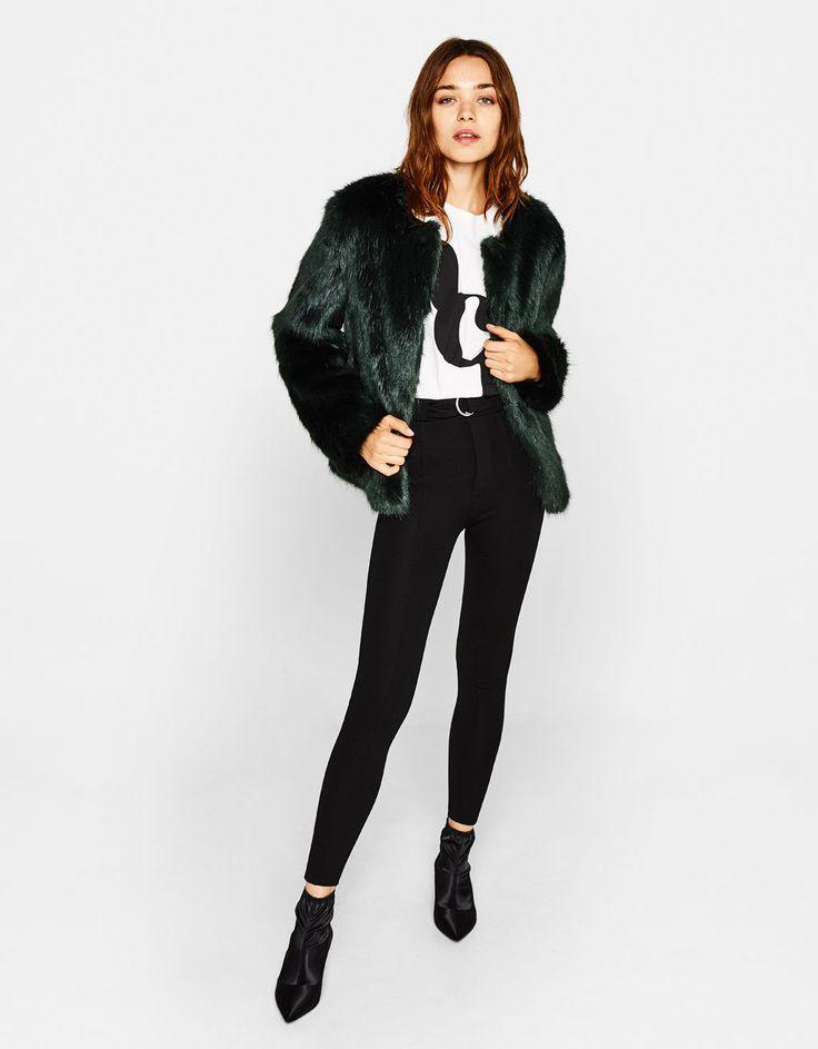 Short faux fur coat - Jackets - Bershka United States