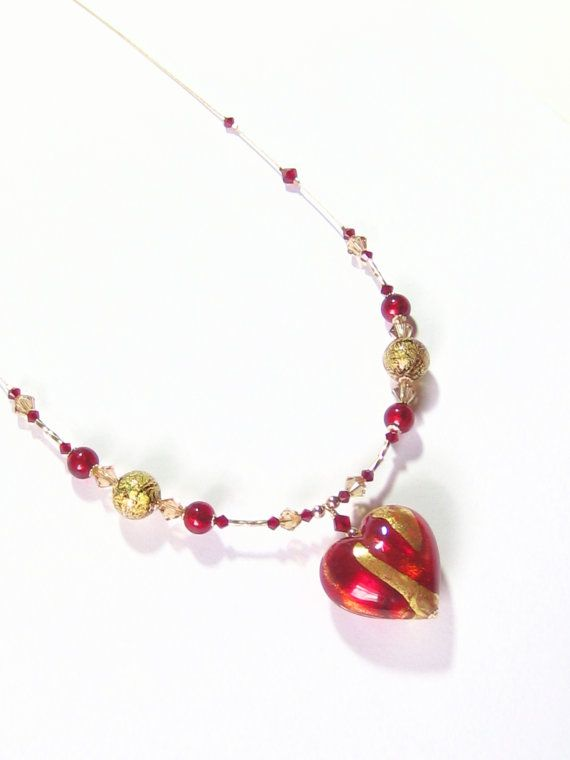 Murano Glass Red Gold Heart Pendant Necklace Venetian by JKCJewels