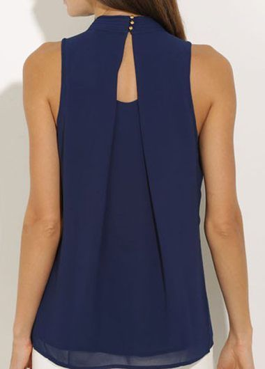 Navy Blue High Neck Chiffon Blouse More