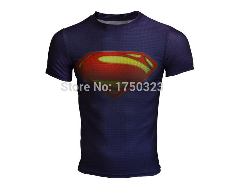 High Elastic Fitness Tights Compression Men T-Shirts Superman/Spider Man/Captain American Tight Shirts Elastic Men T Shirt