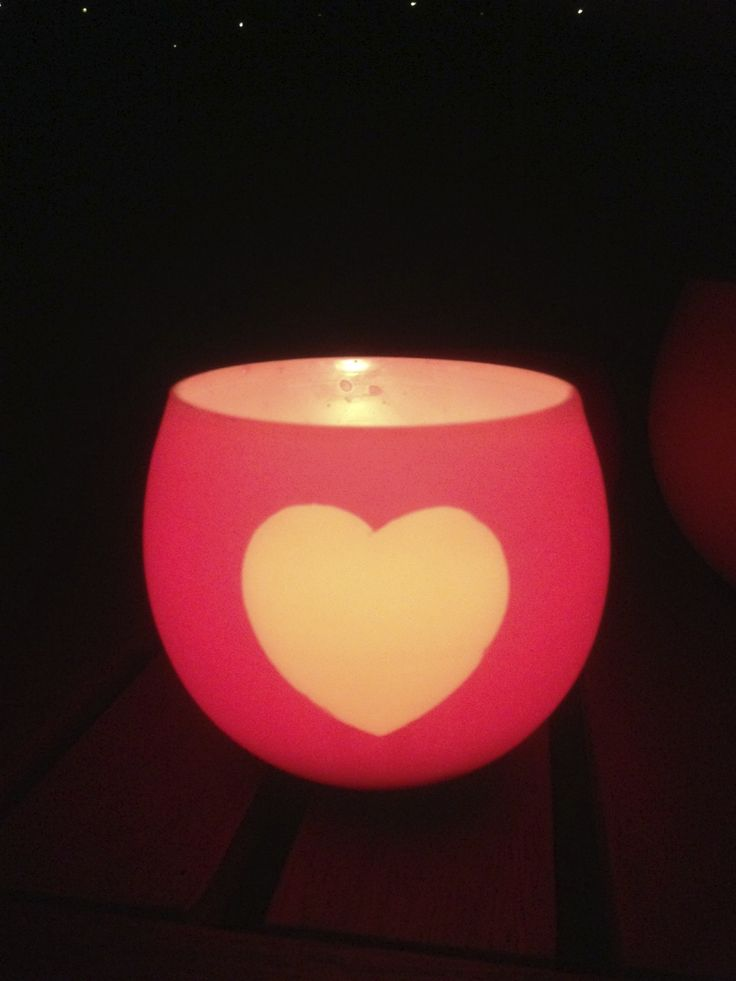 One of our Heart lanterns. Lit up by a tea light, the lantern does not melt. The heart shines brighter.
