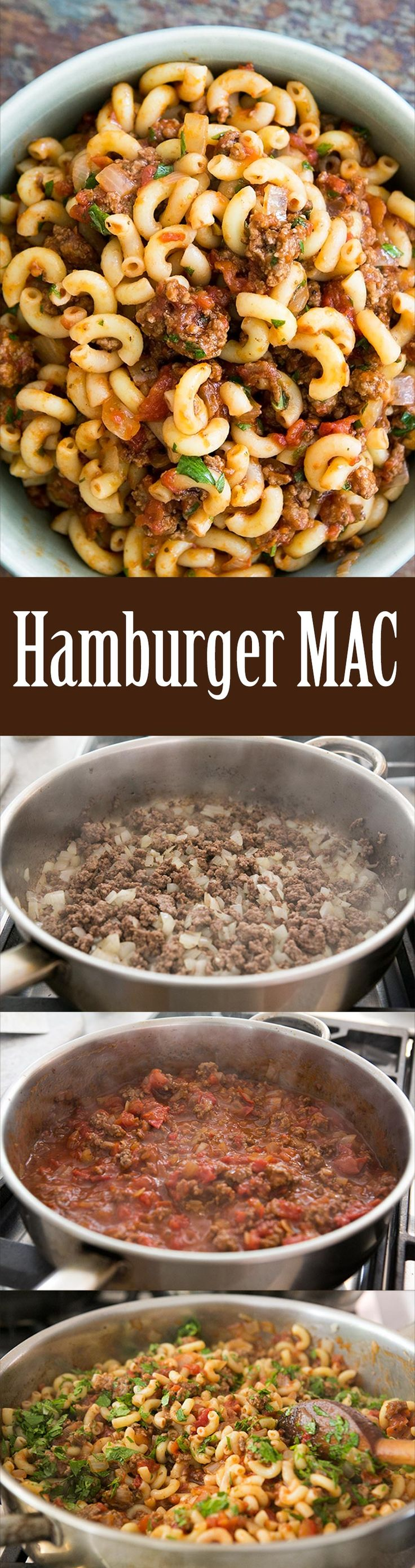 Hamburger Mac! So EASY, takes less than 30 minutes start to finish. Ground beef, onions, tomato sauce, macaroni. Your family will LOVE this. Perfect midweek meal. On SimplyRecipes.com