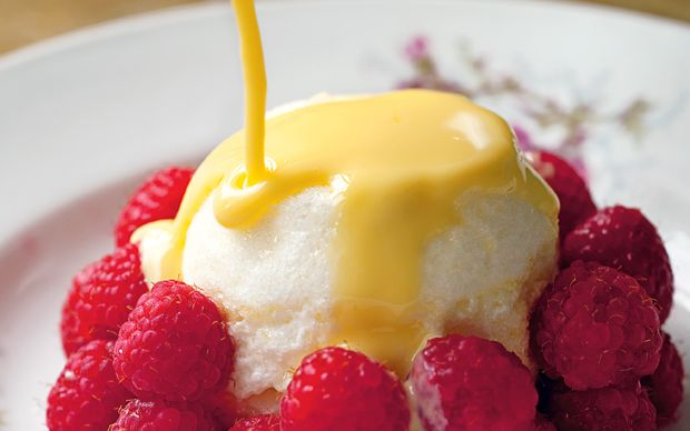 Bruno Loubet's fresh raspberries with soft lemon meringue