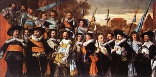 'Banquet of the Officers of the St Hadrian Civic Guard Company (c. 1627)', by Frans Hals, gives a good impression of how people dressed in seventeenth century Amsterdam. http://simon-rose.com/books/etc/historical-background/