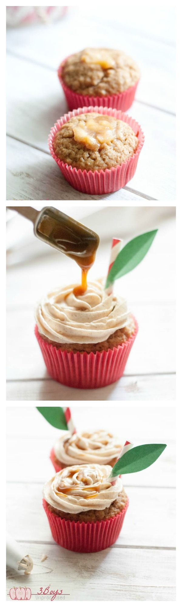 Caramel Apple Cupcakes made 100% from scratch with whole wheat flour. The perfect fall treat!