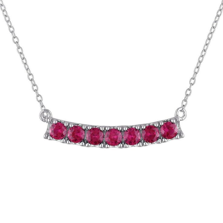 Allura 1 3/8 CT. T.W. Simulated Ruby Necklace in Sterling Silver - 17, Women's, Red