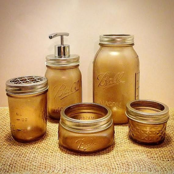 Bathroom Accessories-RUST RESISTANT Mason Jar Bathroom Set 5pc