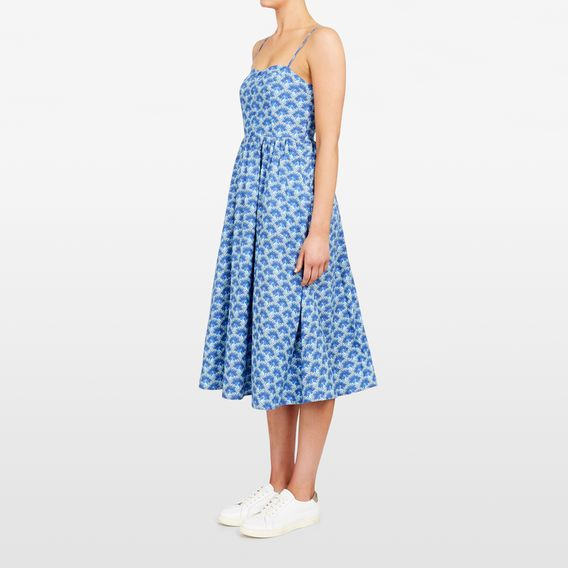 PEACOCK PRINTED DRESS  BLUE/MULTI