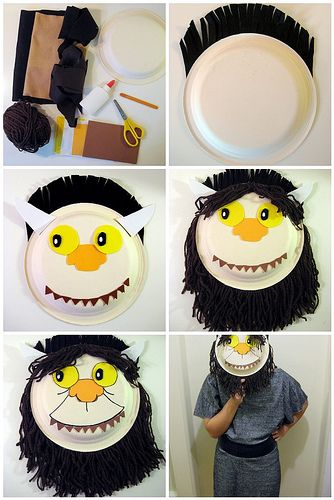 Where the Wild Things Are mask tutorialWild Things, Maurice Sendak, Kids Crafts, Masks Tutorials, Book Activities, Paper Plates, Book Crafts, Halloween Masks, Book Reviews