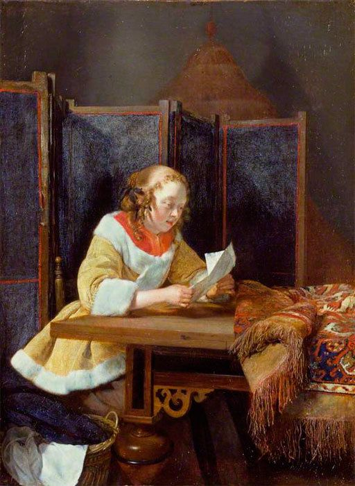 Gerard ter Borch (Dutch, 1617-1681)- Woman Reading a Letter, 1662
