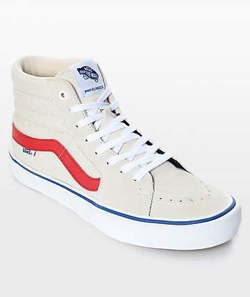 f3e1cdc25a Vans Sk8-Hi Pro Birch Red   White Skate Shoes