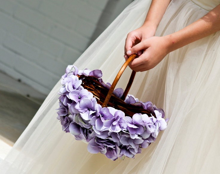 Lavender Flower Girl Basket  Would be easy to DIY :-) A basket, Hot Glue gun and fake flowers