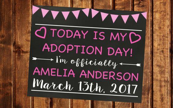 Adoption Announcement, Adoption Day, Printable, Adoption Gifts, Adoption chalkboard sign, Adoption Printable, Adoption card, Girl Adoption