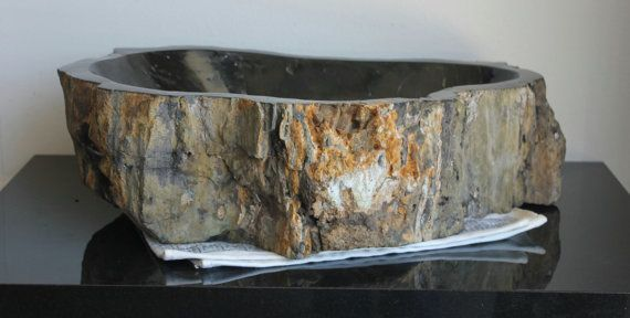 23in x 15in Natural Black & Raw Amber Petrified Wood Fossil Oval Shape Stone Vessel Bathroom Sink Basin by OffTheWallArtist08, $849.95