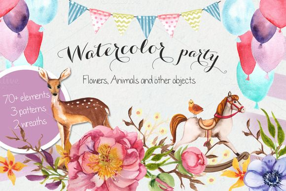 Lil' party Watercolor graphics by Irina Burtseva on @creativemarket