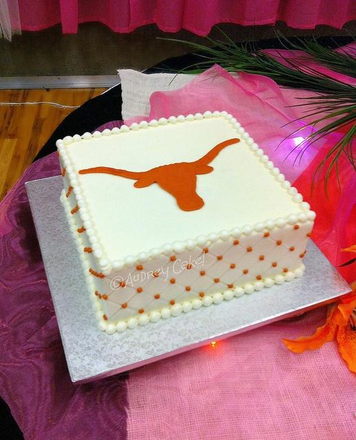 """Khoa's Texas cake. austinweddingcakelady says """"Nothing says Texas any better than this simple and elegant Longhorn cake. Perfect color on that burnt orange! Thanks for the great cake idea!"""" austinweddingcakelady"""