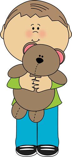 Boy with a Teddy Bear Clip Art - Boy with a Teddy Bear Image