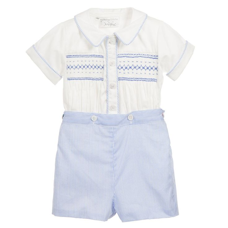 Gorgeous, traditional heritage style, baby boys ivory and blue stripe buster suit from Rachel Riley made from soft lightweight cotton. The top has a beautiful embroidered hand smocking and pleated detail on the front. The shorts are fully lined and fasten to the top snugly with buttons to make an adorable little outfit, perfect for special occasions.<br /> <ul> <li>100% cotton poplin (soft, lightweight feel)</li> <li>Full lining in shorts</li> <li>Machine wash (30*C)</li> <li>Button fas...