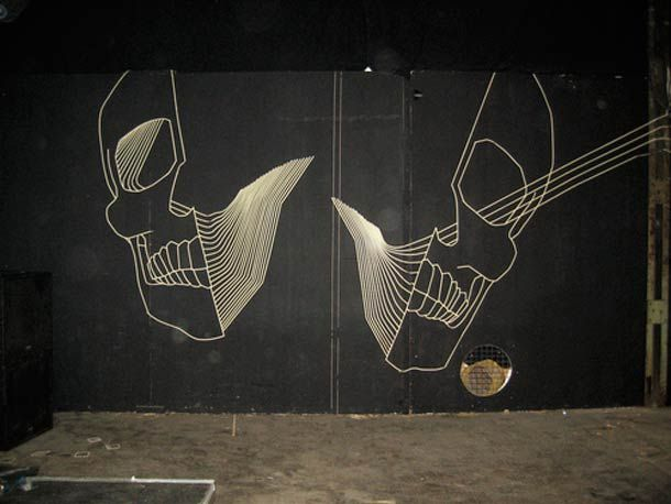 """URBAN ART - Focus on the """"Tape Art"""" by Australian artist BUFF DISS, using masking tape, duct tape and adhesive paper to populate the city with his creations. Some beautiful non-degrading Street art which may be removed at any time without leaving a trace, which reinforces the ephemeral nature of his work."""