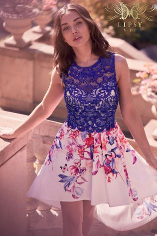 3306aa8791f Buy Lipsy VIP Lace Top Placement Print Prom Dress from the Next UK online  shop