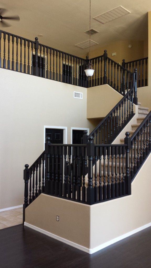 Black Staircase #chandler #housepainting #MTS #stairs #paintitblack