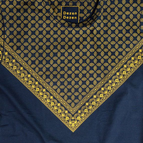 Yellow triangular televisors print on blue T-SHIRT di DezenDezen  #kerchief #foulard #tshirt #vintage #handmade #handprinted #dezendezen #etsy