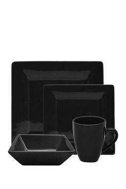Black 16-Piece Square Dinner Set