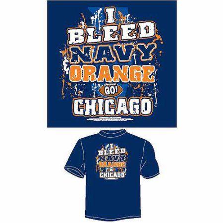 Chicago Football I Bleed Navy and Orange, Go Chicago T-Shirt, Blue, Men's, Size: Medium