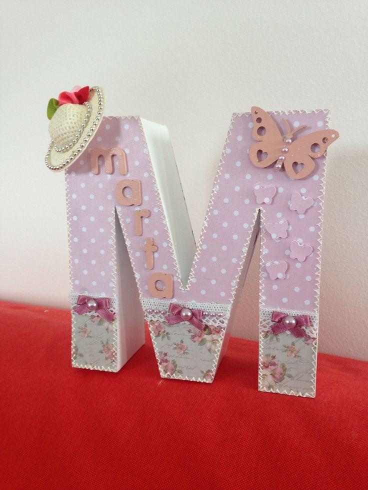 Letra decorada m scrap letras scrapbooking - Letras decoradas scrap ...