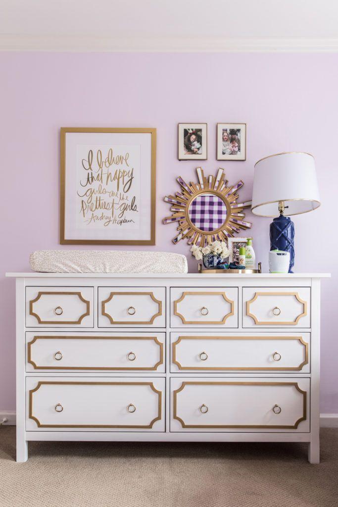 DIY Ikea Hack Hemnes Dresser as a changing table in baby girl nursery