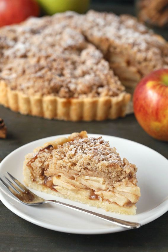 This gluten-free apple tart has a thick crumb topping and can also be made with traditional all-purpose flour. Enjoy it with a cup of coffee for a sweet breakfast or a delicious Fall dessert.