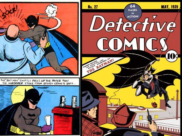 May 1939: Batman's first appearance in Detective Comic 27 – Batman wore a bulletproof vest under his suit and had purple gloves. He also wore a standard belt with a round buckle.  #EasyPin