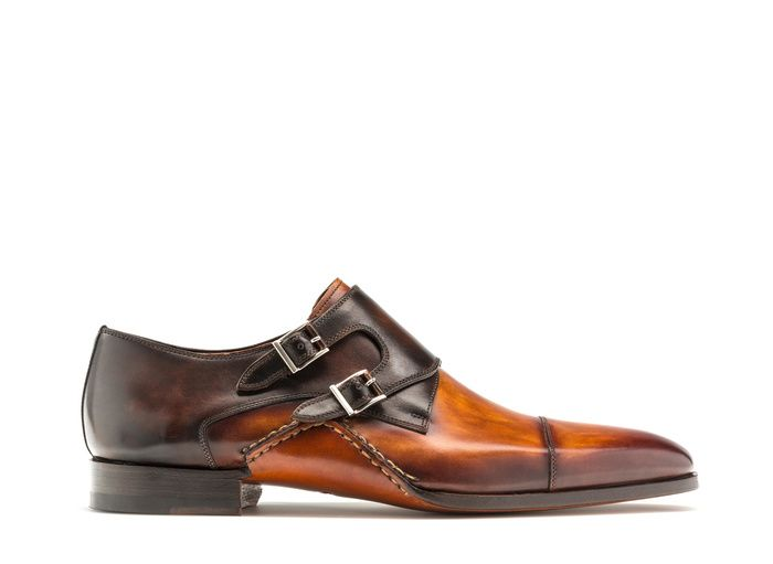 Hand painted dual-tone leather double monk strap shoes for men - Magnanni