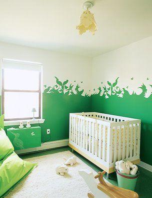 green painted walls / nursery: Paintings Ideas, Wall Murals, Cute Ideas, Best Paintings Colors, Wall Paintings, Paint Colors, Paintings Wall, Baby Rooms, Kids Rooms