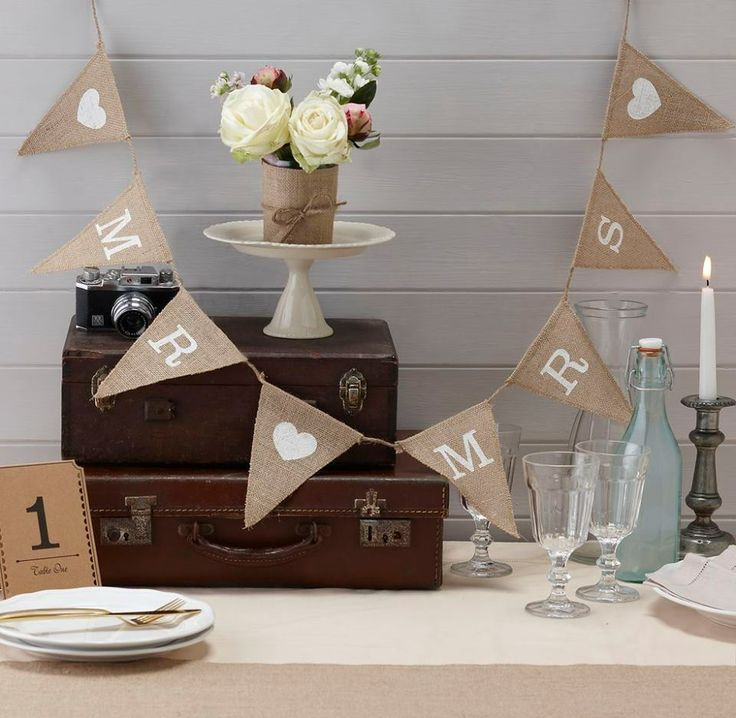 Gorgeous rustic hessian vintage bunting has the words ldquo Mr rdquo and ldquo Mrs rdquo printed in white on triangular flags Ideal for the wedding
