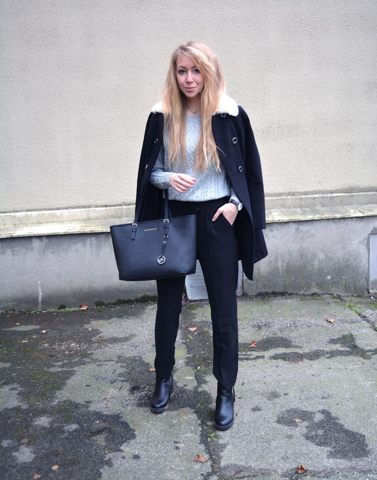 Suit pants, a casual knit sweater, coat from Miss Selfridge,
