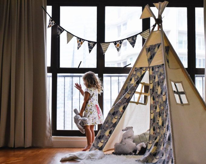 Ready to Ship-Bear u0026 Friends Natural Canvas teepee-Kids windows Childrens WigwamPlayhouseNursery TentPlay flags & 10 best Etsy Shop - Kids Teepee Malaysia on Etsy images on ...