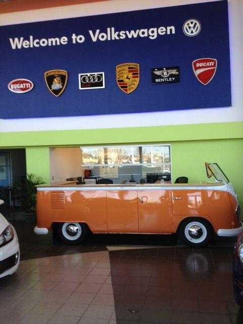 Custom Dana Surfboards inspired counter for a vintage Volkswagen van at a VW dealership in Virginia. It turned out pretty awesome!
