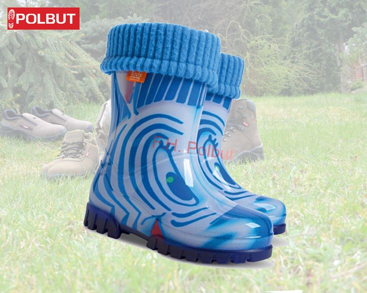 Blue #wellington #boot for kids, great #zebra pattern with warm cotton inside. The best for #cold #winter !