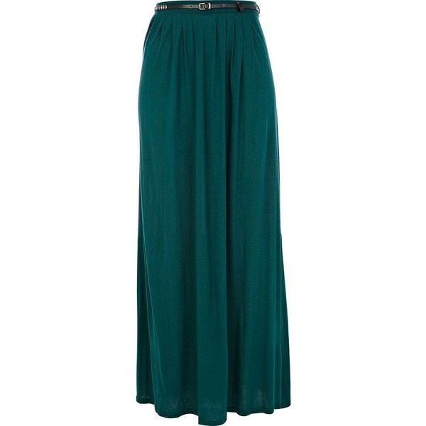 River Island Green belted jersey maxi skirt (46 CAD) ❤ liked on Polyvore featuring skirts, maxi skirts, saias, bottoms, maxi skirt, blue jersey, green maxi skirt, green skirt and floor length skirt