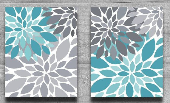 CANVAS ART, Turquoise & Gray Flower Burst Wall Art Abstract Botanical Print Set Home Decor Nursery Art, Bathroom Art Aqua Teal