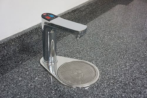 The Flow-Max® Under-Counter Water Dispenser (FM-5 Series) from Hatco is designed to deliver 150 cups (165 ml/cup) of hot water per hour (up to 25L of hot water per hour) using the programmable, on-demand hot water dispense volume on the touch faucet panel.