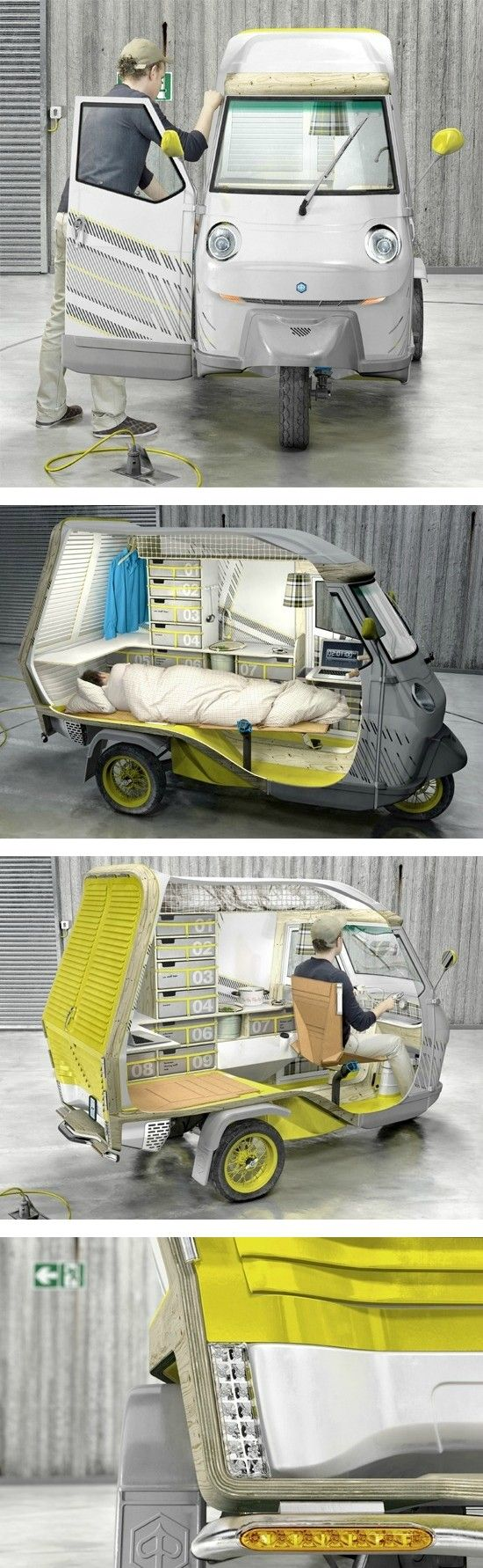 STRANGE NEW PRODUCTS - COOL 3 WHEEL SCOOTER - CAMPER FOR ONE PERSON OUTINGS! - 4 SHOT SEQUENCE!