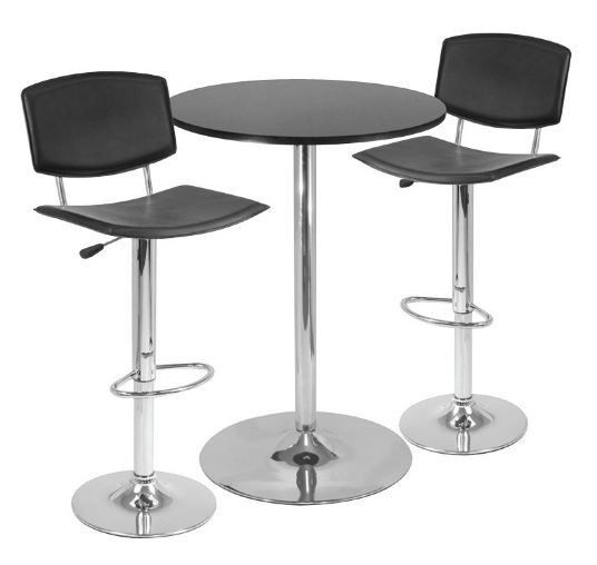Pub Table Chairs 3 piece Modern Black and Chrome Dining Bar #Cottage $289.89  sc 1 st  Pinterest & 11 best Work Office Remodel - Bar Table and Chairs images on ...